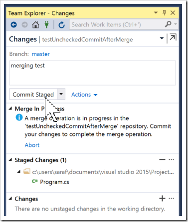 committing a merge in progress in Changes window