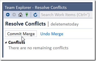 Commit Merge in Resolve Conflicts in TE