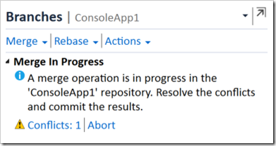 Merge in Progress - Conflicts: 1 message