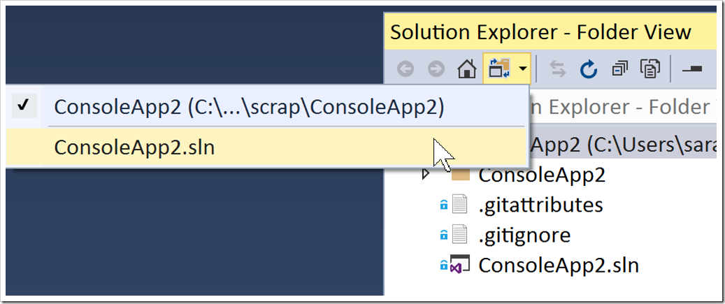 dropdown for opening a solution in SE