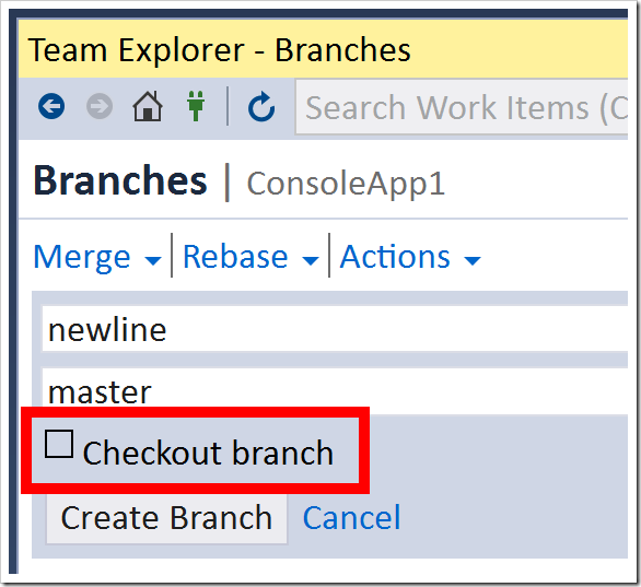 Checkout branch unchecked