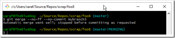 git merge --no-ff --no-commit mybranch3