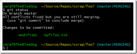 git status showing myfile1.txt as staged to be committed