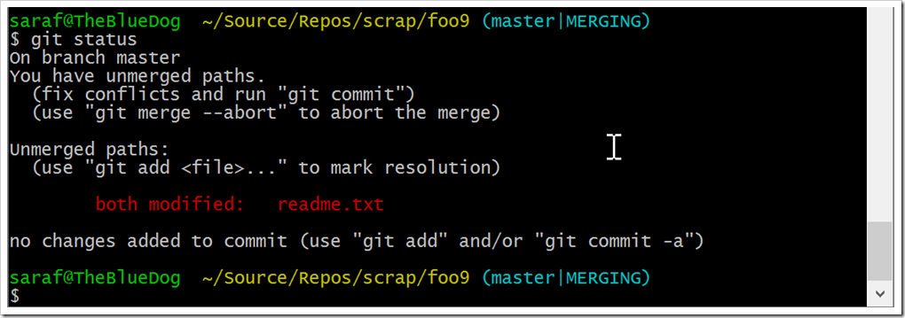 need to do git add to stage changes from merge