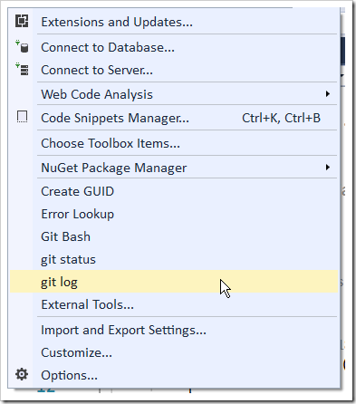 how to choose git visual studio 2017