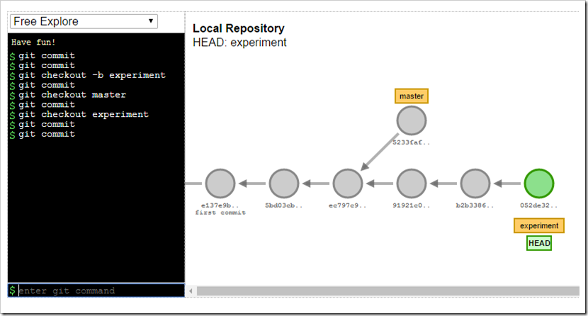 visualization setup of master vs experiment branches