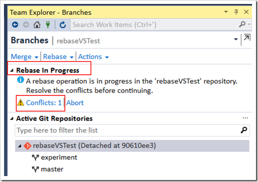conflicts message in Team Explorer