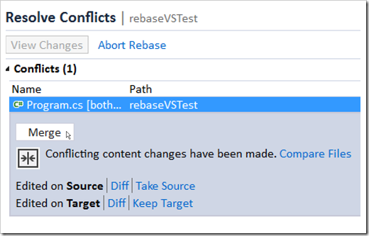 resolve conflicts window in Team Explorer