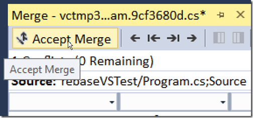 Accept merge in VS tool