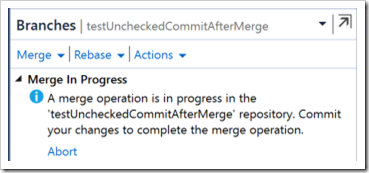 merge in progress message
