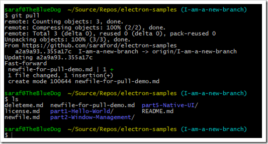 git pull shown fetching and merging in a newfile-for-pull-demo.md