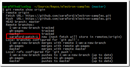 git remote show origin showing saraford-patch-1 as a new remote branch