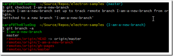creating a new local branch from a remote tracking branch