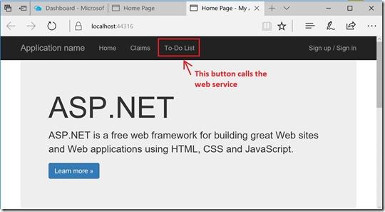 The To-Do List link calls the Web API