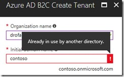 Contoso Tenant name already in use by another directory