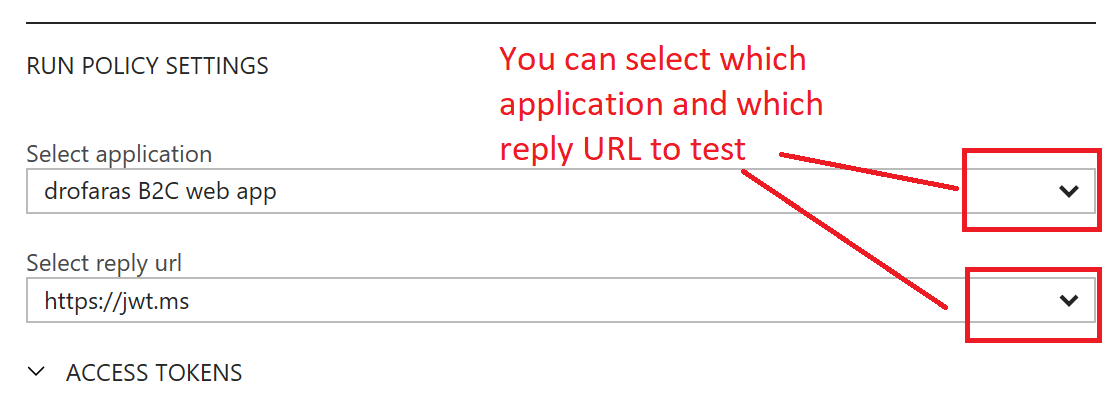 Select application and Select reply URL for Policy - Run Now