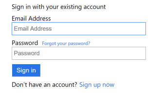 Sign in with local account screen
